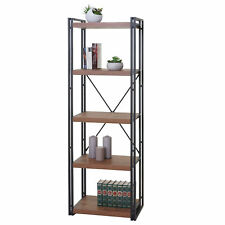 Bücherregal HWC-A27, Standregal, 165x55cm 3D-Struktur 5 Ebenen, Wildeiche-Optik