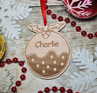 PERSONALISED CHRISTMAS PUDDING TREE DECORATION BAUBLE XMAS GIFT ORNAMENT WOODEN