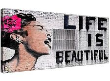 Life is Beautiful Black White Pink Banksy Graffiti Wall Art for your Bedroom