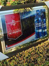 "Bud Light Houston Rockets Basketball NBA Beer Bar Man Cave Pub Mirror ""New"""