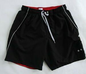 Speedo Mens Mesh Lined Polyester Black Cargo Swim Trunk Shorts Large