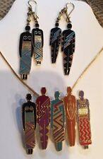 """Tribe"" Laurel Burch Red & Black 22KT GP Earrings! Brooch / Pin Set 1990s"