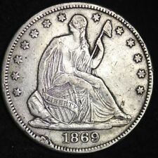1869 Seated Liberty Half Dollar VF DETAIL FREE SHIPPING E309 REN