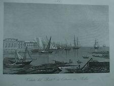 1845 Zuccagni-Orlandini Veduta del Porto di Catania in Sicilia