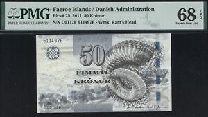 Faeroe Islands 50 Kronur 2011 P.29 PMG 68 EPQ