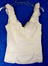 WHITE HOUSE/BLACK MARKET WOMEN BLOUSE SLEEVELESS WHITE COTTON NYLON SPANDEX  SIZ