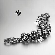 Silver skull stainless steel chain bangle bracelet chunky heavy 21.5cm 117g