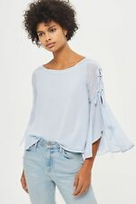 Ladies Topshop Eyelet Lace Up Flute Sleeve Top Blouse Pale Blue Size 10 2018