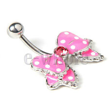 Cute Pink Bow with White Polka Dots No-Dangle Belly Ring Bar Navel Ring JW539 YG