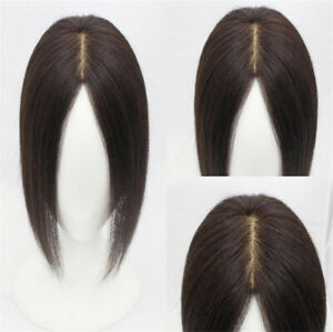 Lady Women's Topper Toupee Clip in 100% Real Human Hair Top Hair One Piece Wigs