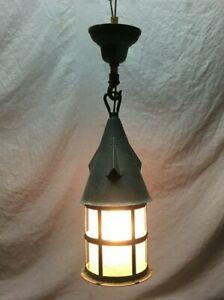 Antique Brass Metal Craftsman Peaked Hanging Porch Light Black VTG Old 1311-21B
