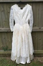 Vintage Long Sleeve Lace Ivory Wedding Formal Gown 26 In Waist