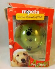 Pet Christmas Ball Ornament Plastic Fillable Ball For Pet Treats Green With Paw