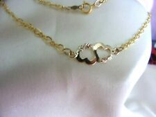 "Gold two Heart Anklet 10"" 12 & 10k Solid Black Hills"