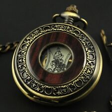 Vintage Wood Grain Hollow Hand wind Up Mechanical Pocket Watch Steampunk W/Chain