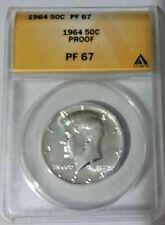 1964 KENNEDY SILVER PROOF HALF DOLLAR 50c ANACS PF67