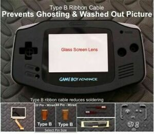 GBA Backlight-Backlit Adapt-AGS101-Mod Kit w/glass lens+Type B-Solid Black