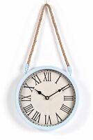 Shabby Chic Hanging Metal Wall Clock Rope Hanger Gift Retro Industrial Style