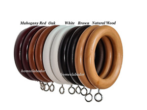 38mm Wooden Curtain Hook Rings with Eyes Mahogany Red, Oak, Natural Wood & Black