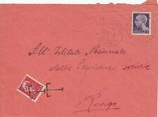 LUOGOTENENZA-TASSATA 2L su busta 1L(533) Taglio di Po->Rovigo 28.8.1945
