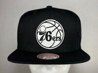 Mitchell and Ness NBA Philadelphia 76ers Black & White Wool Snapback Hat