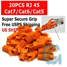 20Pcs Orange Rj45 Connector Modular End Cap Boot Head Cat5 Plug Cat6 Cat5E Cable
