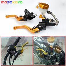 """7/8"""" 22mm Motorcycle Brake Clutch Master Cylinder Lever Fluid Reservoir Set Gold"""