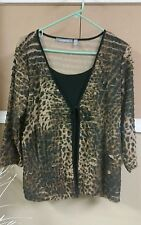 Ny collection xl black top overlay leopard jacket tie