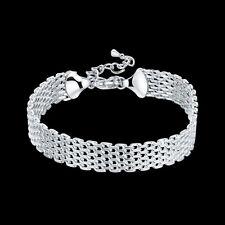 Wholesale 925Sterling Silver Lovely Flat Dense Mesh Chain Woman Bracelet HY563