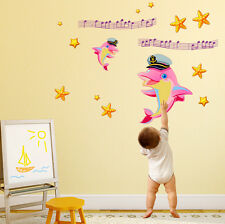 5700060 | Wall Stickers Cute Dolphins in Pink with Stars For Kids Room