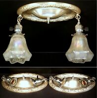 PAIR 1920s Antique Art Deco Nouveau Silver 2 Light Ceiling Fixtures Glass Shades