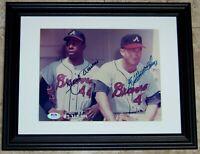 VERY RARE! Hank Aaron & Eddie Mathews Signed Autographed Baseball Photo PSA LOA!