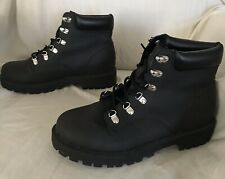 H&M DIVIDED BLACK COMBAT BOOTS BOOTIES WAFFLE SOLE Womens 7.5 (38)-NEW