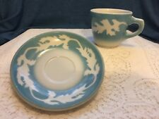 1960's Syracuse China Oakleigh Blue Air Brush Cup/saucer 10GG/6GG USA Vintage