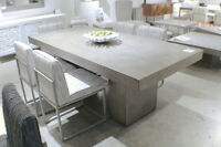 """83"""" L dining table Desk solid concrete Cement modern sealed indoor outdoor"""