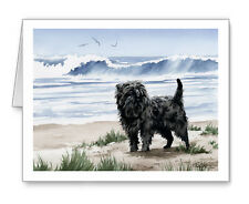 Affenpinscher Dog At The Beach Set of 10 Note Cards With Envelopes