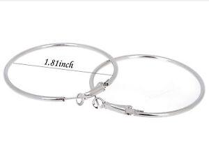 """LARGE ROUND SILVER HUGGIE HOOP EARRINGS 1-3/4"""" DIAMETER (3M404)"""