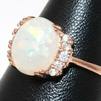 Gorgeous Oval White Australian Fire Opal Halo Ring Women Jewelry 14K Gold Plated