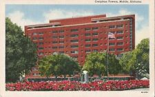 Postcard Alabama Mobile Creighton Towers St Michael & Bayou Sts Unused 1940s