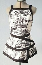 Worthington asymmetric womens peplum top Tank top size S Black white palms print