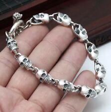 Solid 925 Sterling Silver Skull Link  Biker Bracelet Chain 20cm *UK STOCK*