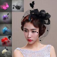 Women Bow Feather Net Veil Wedding Fascinator Hat Clip Hair Accessories Hot