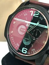 Lee Cooper Bordeaux Men's Watch Black Blue Dial Brown Leather Band LC06176.658