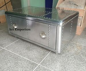 Aviator Coffee Table with One Drawer Vintage Industrail One Drawer wooden Alumun