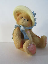Nib Cherished Teddies 128023 Christy Bear w/Straw Hat and Blue Flowers/ Blue Bow