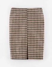 Knee Length Wool Checked Petite Skirts for Women
