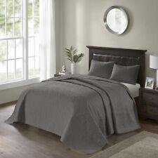 Beautiful Xxl Chic Grey Charcoal Modern Vintage Textured Quilt Bedspread Set