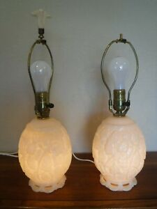 PAIR Vintage Mid Century Aladdin Alacite Lamps Missing One Finial