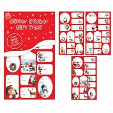 75 CHRISTMAS STICKER GIFT TAGS RED GLITTER FOIL SILVER GOLD LABELS XMAS PRESENT