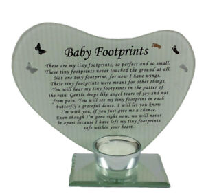 Baby Footprints Special Prayer Memorial Glass Heart Shaped Candle Holder Frame